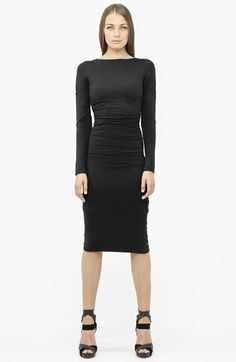 Nicole Miller Ruched Ponte Knit Midi Sheath Dress available at #Nordstrom