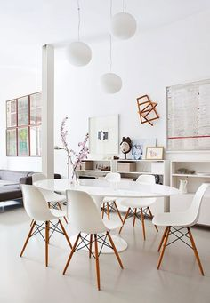 Dining Room , White Dining Room Decorating Ideas : Molded Plastic Chairs With Dowel Leg Base For White Dining Room And Round Multi Pendant L...