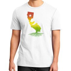 California Roots (Rasta surfer colors) District T-Shirt (on man)