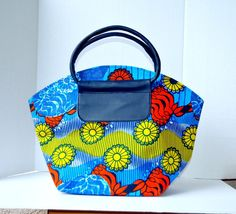 Blue African Print Tote Bag