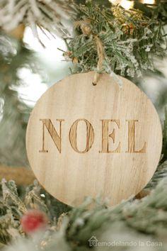 NOEL wooden circle Christmas ornament