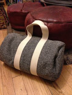 Duffle bag tutorial- love the classy decorator fabric instead of typical ripstop nylon!