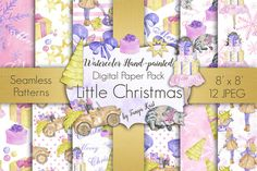 Little Christmas Digital Paper Pack by Tanya Kart on @creativemarket