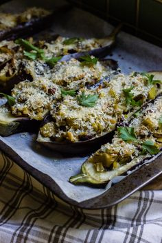 stuffed eggplants with leek, almonds + sultanas | theswirlingspoon.com