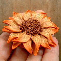 Butterscotch Sunflower Pendant | by ZudaGay