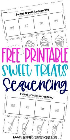 These Sequencing Worksheets for Preschoolers are great for practicing creative thinking and problem solving skills as well as having fun with sweet treats that your little kids are sure to enjoy! Grab yours today! #preschool #sequencing #sweets #baking #preschoolworksheets #sequencingworksheets Sequencing Worksheets, Printable Preschool Worksheets, Preschool Themes, Free Printable, Sensory Activities Toddlers, Kids Learning Activities, Craft Projects For Kids, Diy Projects, Tot School