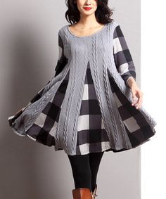 Look what I found on #zulily! Gray Mixed Media Inset Swing Tunic #zulilyfinds