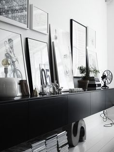 black floating joinery in the living room