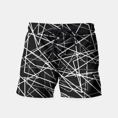 Modern Black & White Lines Swim Shorts, Live Heroes Mens Swim Shorts, Black And White Lines, Pencil Skirts, Swimsuits, Swimwear, Patterned Shorts, Beachwear, Live, Stylish