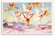 Angels, 1955. (Artist: Harald Damslett) Tomorrow is December 1 and there are only twenty four days left until Christmas Eve. What about sending a handwritten greeting to family and friends t...