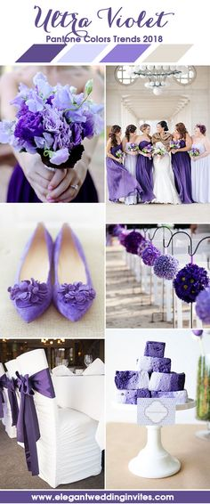 Fresh Violet Purple Shades Wedding Colors for 2018 Weddings