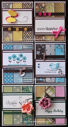 great use of scraps and quick sets of cards. I need to make these with my scraps! Card Making Inspiration, Making Ideas, Cool Cards, Quick Cards, Card Sketches, Paper Cards, Diy Paper, Card Tags, Scrapbook Cards