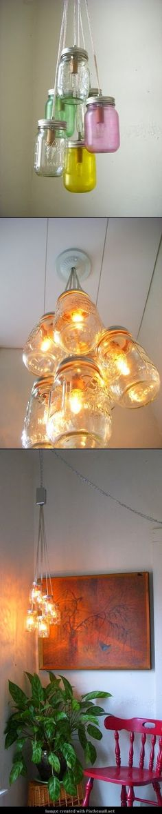 DIY Mason Jar Chandelier: our 99 cent store has colored mason jars right now...
