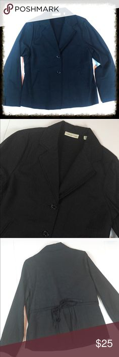 """Coldwater Creek Black Quilted Blazer Gorgeous two button blazer with adjustable tie waist.73% cotton 27% silk. The lining is 100% cotton. The fiberfill is 100% polyester. Dryclean only. It has a quilted texture to it. Front/pockets.  Chest measures 21.5 inches across from armpit to armpit. Length measures 26 inches.  Arm length measures 24"""".  In excellent condition. Jacket is solid black Coldwater Creek Jackets & Coats Blazers"""