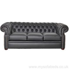 The Chartwell three seater sofa bed is based on original Chesterfield design with it's straight scrolled arms and a signature low back.