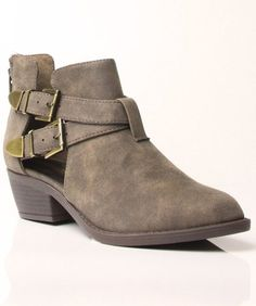 Soda Autry Vegan Leather Almond Toe Strappy Stacked Heel Ankle Boots