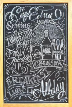 Chalk design by Carolina Ro #sign #branding #cafe #coffee #calligraphy #typography #restaurant #menu #chalkboard #chalkart #art #wine #beer #handmade