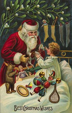 Best Christmas Wishes. Vintage Santa