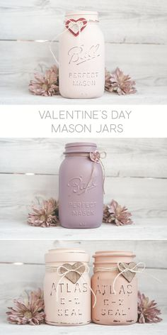 Latex Painted Mason Jars for Valentine's Day. Using vintage mason jars and Floetrol.