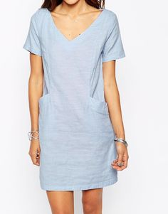 Image 3 of Vila Chambray T-Shirt Dress