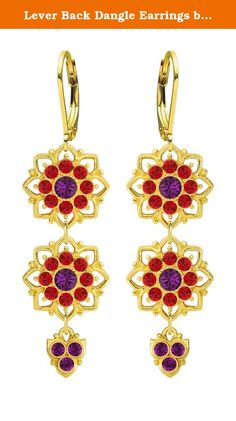 Lever Back Dangle Earrings by Lucia Costin Made of 24K Gold Plated over .925 Sterling Silver with 8 Petal Flowers, Violet, Red Swarovski Crystals and Lovely Charms; Handmade in USA. Very light and playful these blooming earrings designed by Lucia Costin, will give a trendy touch to your look. Lucia Costin was born and raised in Eastern Europe, that is why all her products have a European touch of glamour but each item is hand-made in the USA and sold worldwide. She creates rich and…