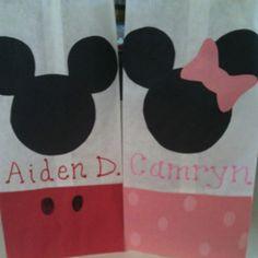 Mickey and Minnie Birthday Treat Bags- DIY. Cheap!