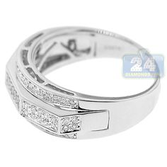 Real 0.82ct Brilliant Cut Comfort Fit Diamond Wedding Band 14ct White Gold