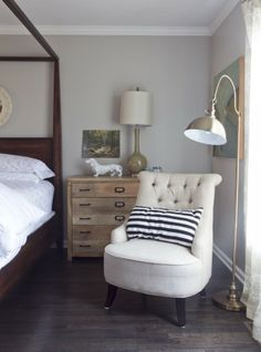 To create a collected space- mix your woods. Love this room designed by Milk & Honey. We have that lamp in the background at LIVshowroom Home Bedroom, Master Bedroom, Bedrooms, Bedroom Lamps, My Home Design, House Design, Dresser As Nightstand, Rustic Dresser, Wood Dresser