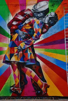 Massive Mural by Kobra Recreates Iconic Times Square 'Kiss' Photo . On my wall please