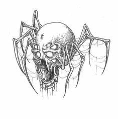 xerogi] by gizmo Dark Art Drawings, Tattoo Design Drawings, Pencil Art Drawings, Art Drawings Sketches, Dark Art Tattoo, Tattoo Flash Art, Body Art Tattoos, Arte Horror, Horror Art