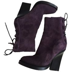 Pre-owned Suede Wedge Purple Boots ($200) ❤ liked on Polyvore featuring shoes, boots, ankle booties, purple, wedge booties, suede lace up booties, high heel booties, wedge bootie and suede booties