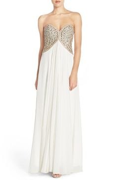 a8bfdb09e1 Glamour by Terani Couture Embellished Strapless Mesh Gown available at   Nordstrom Glamour By Terani Couture