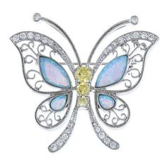 La Preciosa Sterling Silver Created Opal And CZ Butterfly Pin ❤ liked on Polyvore featuring jewelry, brooches, sterling silver cz jewelry, cubic zirconia jewelry, pin jewelry, monarch butterfly jewelry and sterling silver jewellery