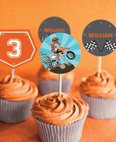 Dirt Bike Party Cupcake toppers Motorbike by SunshineParties Bike Birthday Parties, Dirt Bike Birthday, Motorcycle Birthday, 2nd Birthday, Motorcycle Party, Birthday Ideas, Halloween Party Costumes, Halloween Kids, Halloween Cakes