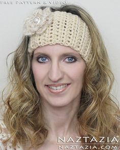 Free Pattern - Easy Crochet Head Band Head Scarf with Flower YouTube Tutorial Video by Naztazia