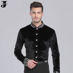 US $56.70 / piece Men Ballroom Dance Shirt Black Spandex Latin Top Velvet Diamond Men Dance Shirt For Cha Cha/Rumba/Samba/Tango/Jazz/Waltz Wear