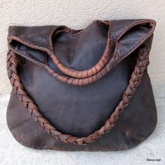 Distressed Brown Leather Tote with Wrapped Handles and Braided Shoulder Strap by Stacy Leigh Ready to Ship. $315.00, via Etsy.