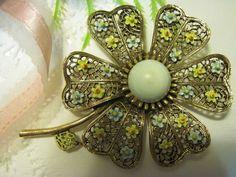 0970 Vintage Mid Century Signed Art Dramatic Filigree Enamel Flower Brooch | eBay