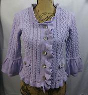 J. Jill Ruffled Cable Knit Sweater Cardigan Size XS Petite