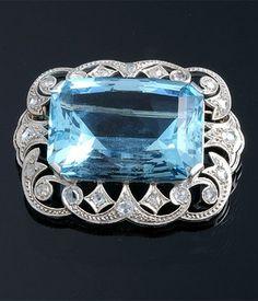 Edwardian Aquamarine and Diamond Brooch