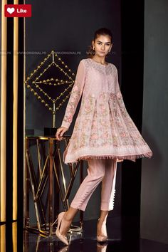 630760e427 Buy this beautiful embroidered stitched Chiffon dress available at a decent  price at all online and off line stores by Baroque Fuschia Collection 2018