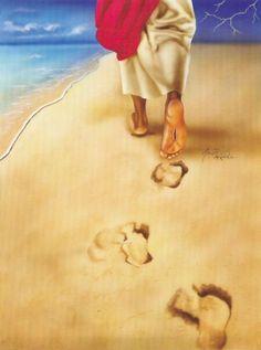 Image Jesus, Jesus Christ Images, Footprints In The Sand Poem, Jesus Artwork, Black Jesus, Jesus Painting, Prophetic Art, Biblical Art, Jesus Pictures