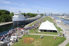 Only on Engineers Day, in Sault Ste. Marie, MI., can you get this unique tour of the Soo Locks and get just feet away from the freighters that lock through. Photo credit: Army Corps