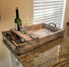 Excited to share the latest addition to my shop: Wine Glass Serving Tray, Ottoman Tray, Rustic Wood Serving Tray, Wine Glass Holder, Drink Caddy Unique Home Decor, Home Decor Items, Rustic Serving Trays, Industrial Serving Trays, Bois Diy, Ottoman Tray, Wooden Pallet Projects, Wine Glass Holder, Diy Holz