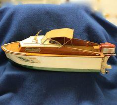 1950's Toy Fleetline Marlin Outboard Cabin Cruiser with Working Mercury Engine