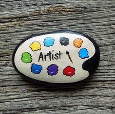 Artist Pallet Painted Rock, Decorative Accent Stone, Paperweight Artist Pallet Painted Rock, Decorative Accent Stone, Paperweight by HeartandSoulbyDeb on Etsy Pallet Painting, Pebble Painting, Pebble Art, Stone Painting, Painting Art, Paintings, Rock Painting Patterns, Rock Painting Ideas Easy, Rock Painting Designs