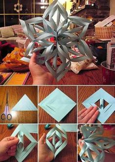 Fun craft project with the kids! Large 3D snowflakes