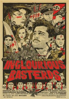 Inglourious Basterds Poster Gifts for Quentin Tarantino Fans Brad Pitt Wall Decor Christoph Waltz Wall Art War Film Poster Living Room Artwork