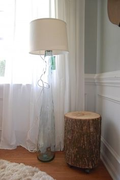 Amazing DIY Lamp From A Tall Glass Vase (from HomeGoods), A Thrifted Lampshade, And  A Light Kit