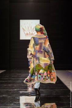 """Купить Волшебное пальто """"Выйду за околицу..."""" - рисунок, Анна Лесникова, трикотаж от кутюр"""